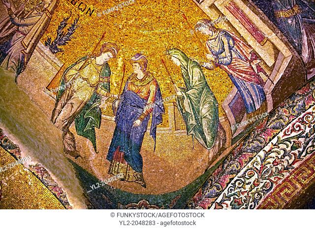 The 11th century Roman Byzantine Church of the Holy Saviour in Chora and its mosaic of the procession of the Virgins. Endowed between 1315-1321 by the powerful...