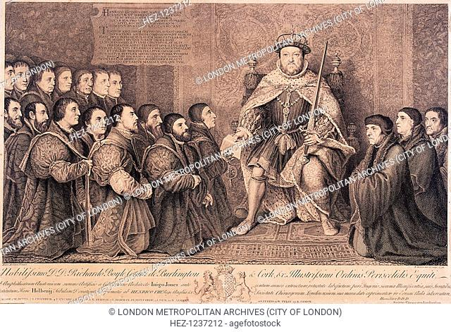 View of King Henry VIII surrounded by kneeling figures, 1736. The lower margin contains a key