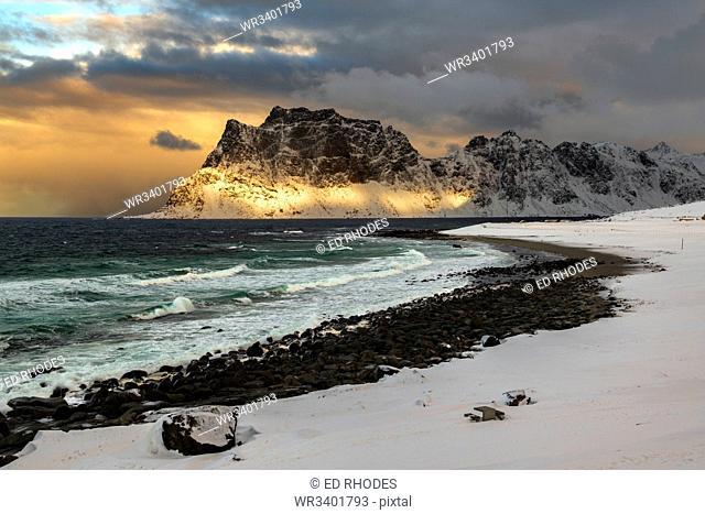 Storm clouds at Uttakleiv Beach, Vestvagoy, Lofoten Islands, Nordland, Norway, Europe