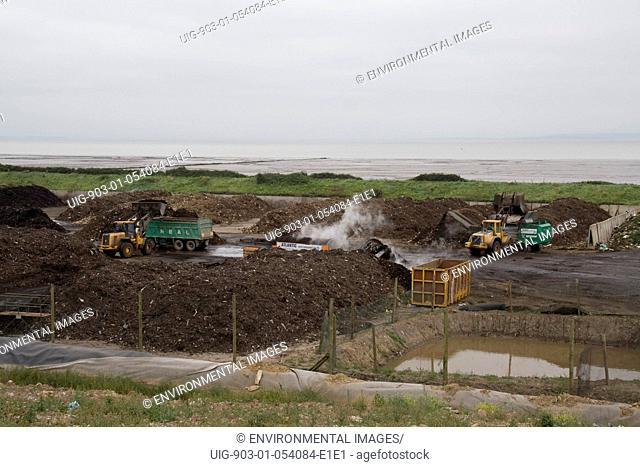 Overview of the windrow composting site, Cardiff, Wales, United Kingdom