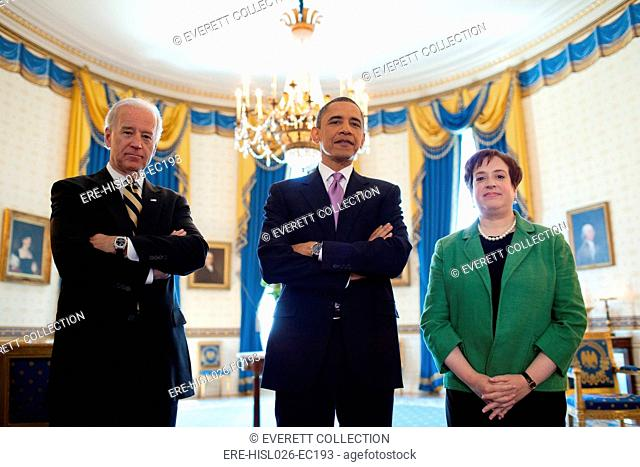 President Obama VP Biden and Solicitor General Elena Kagan prior to the President's nomination of Kagan to replace retiring Justice John Paul Stevens in the...
