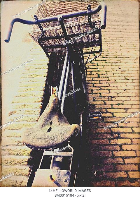 Sit up and beg bicycle with basket, Netherlands