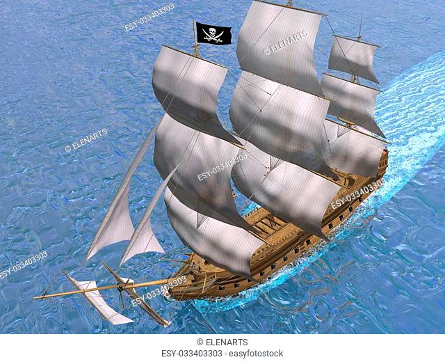 Pirate ship holding black Jolly Roger flag and floating on the ocean