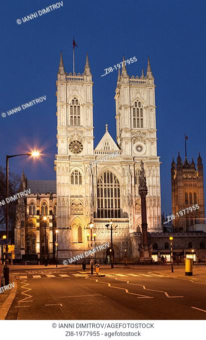 Westminster Abbey at night, Victoria Street, London, England