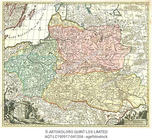 Map, Regni Poloniæ et ducatus Lithuaniæ Volhyniæ, Podoliæ Ucraniæ Prussiæ Livoniæ, Jacobus de LaFeuille (1668-1719), Copperplate print