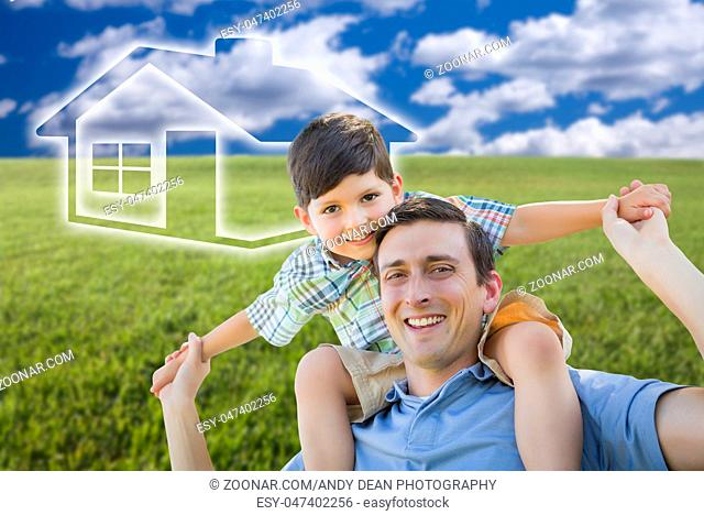 Excited Mixed Race Father and Son Piggyback Over Grass Field, Sky and Ghosted House Icon