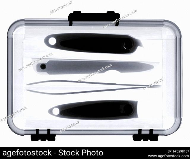 Pedicure and manicure set, X-ray