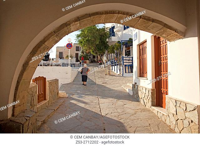 Framed view to the old town Chora, Naxos, Cyclades Islands, Greek Islands, Greece, Europe