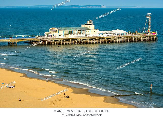 Elevated views of Bournemouth Pier from the cliffs above. Dorset. England. UK