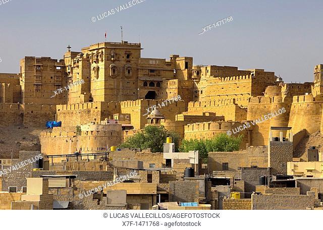 Raj Mahal Royal Palace inside the fort, and city rooftops, Jaisalmer, Rajasthan, India