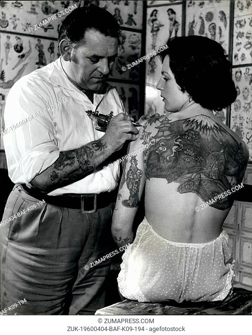Apr. 04, 1960 - Woman wants to be tattooed 'All over' so the 'Champion Tattoo artist of all England' intends doing just that