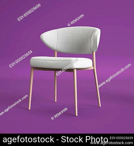 White chair on violet background. Digital illustration. 3d rendering