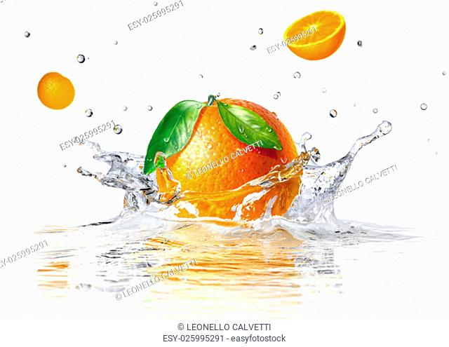 orange splashing into clear water and two other half faling, on white background