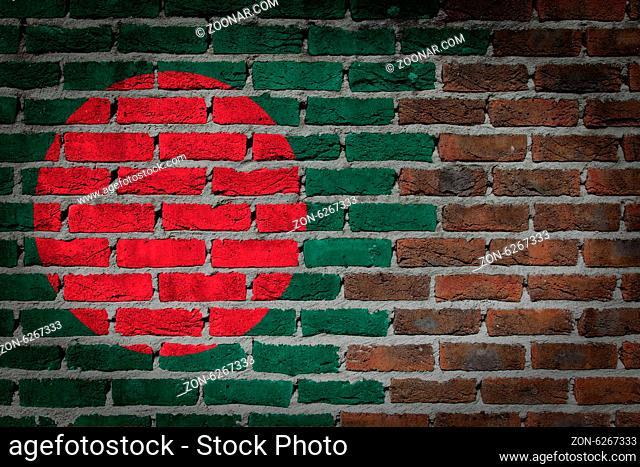 Dark brick wall texture - flag painted on wall - Bangladesh