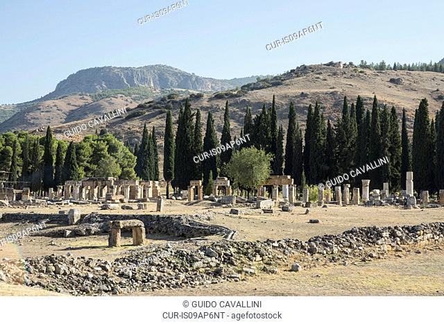 View of columns and pillars at Hierapolis, Cappadocia, Anatolia, Turkey