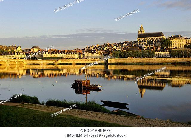 France, Loir et Cher, Loire Valley listed as World Heritage by UNESCO, Blois, Pont Jacques Gabriel, bridge over Loire river and in background