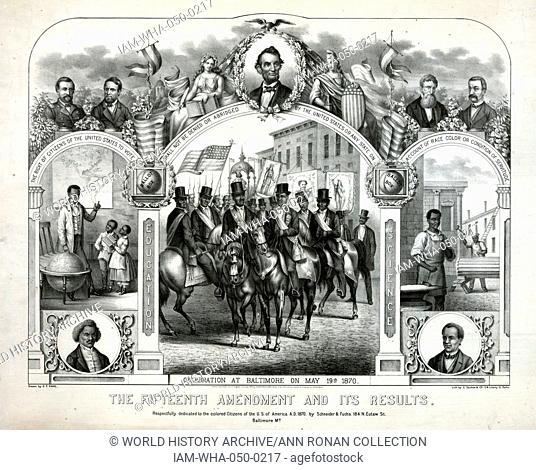 The Fifteenth Amendment and its results' Print commemorating the celebration in Baltimore of the enactment of the Fifteenth Amendment