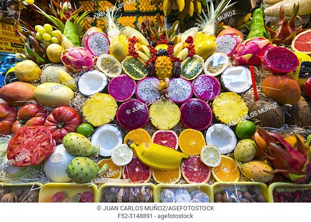 Colorful fruits. Vegueta market, Vegueta neighborhood, Las Palmas city, Gran Canaria Island, The Canary Islands, Spain, Europe