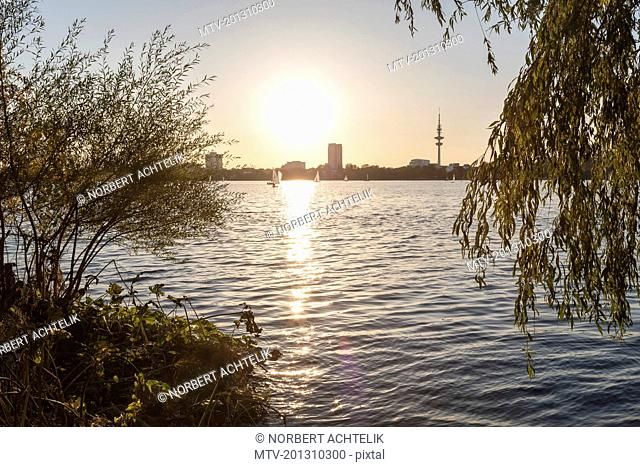 Scenic view of alster lake during sunset