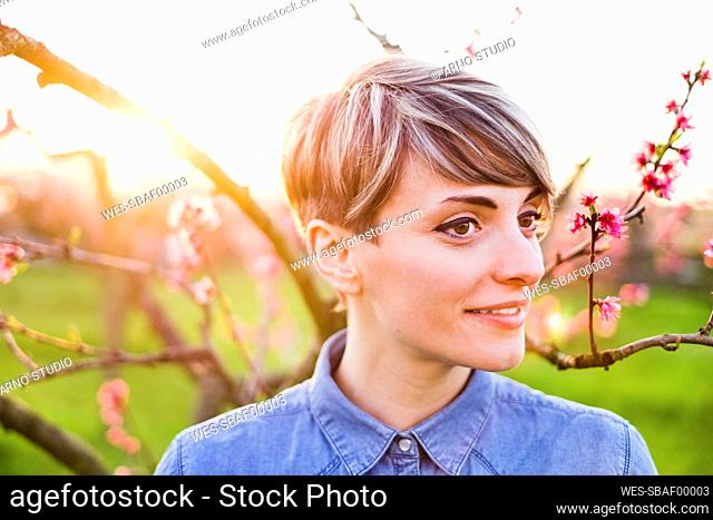 Close-up of thoughtful young woman in park during springtime at sunset