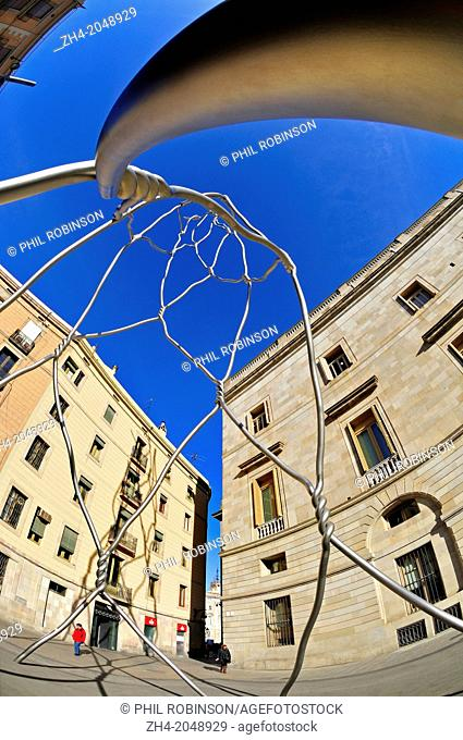 Barcelona, Catalonia, Spain. Monument als Castellers (monument to the Castellers or Human Towers) in Placa de Sant Miquel