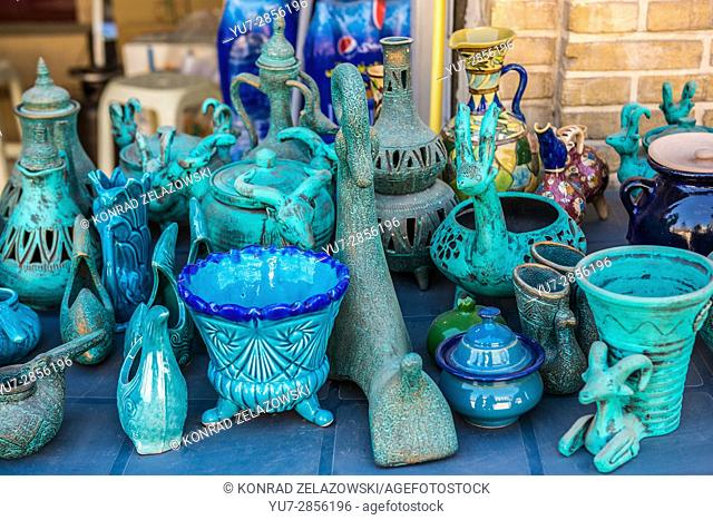 Souvenirs for sale in Kashan city, capital of Kashan County of Iran