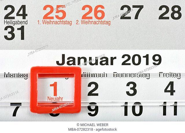 Calendar New Year 1st January 2019 Christmas 2018