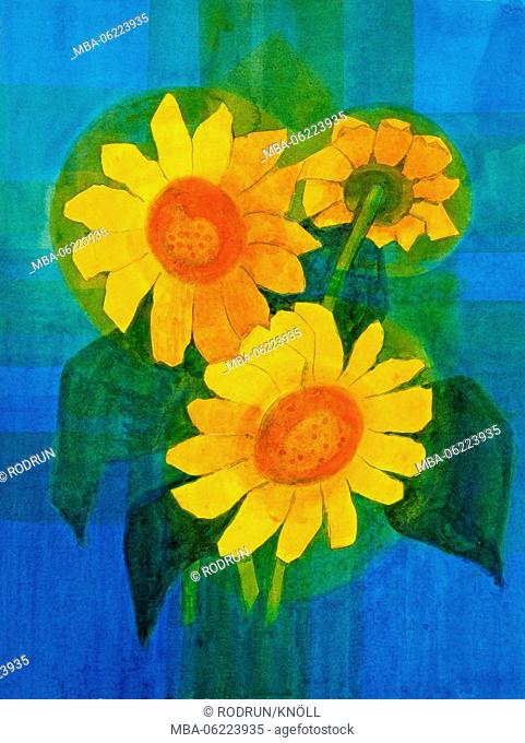Paintings by Regine Martin, acrylic glazing technique, Three sunflowers on a blue background
