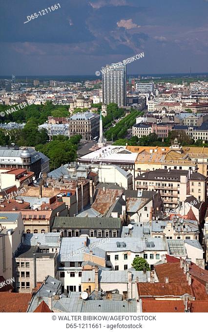 Latvia, Riga, Old Riga, Vecriga, elevated view from St  Peter's Lutheran Church balcony