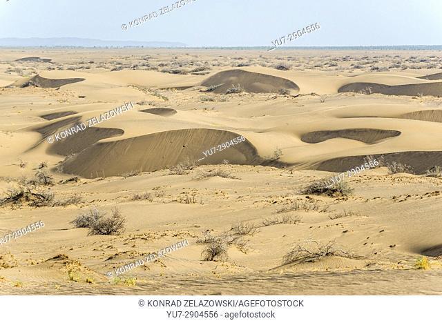 Barchan dunes on Maranjab Desert located in Aran va bidgol County in Iran