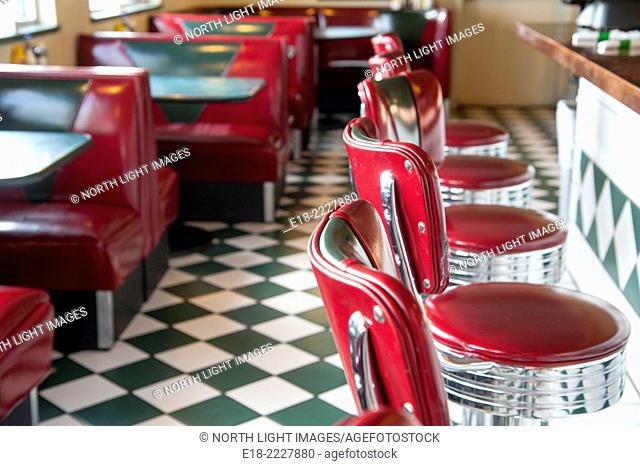 USA, New Mexico, Milan. Classic diner on Route 66