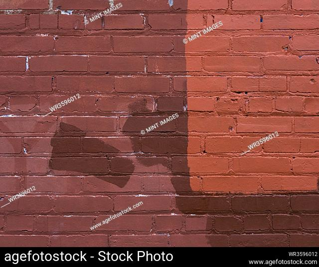 Brown, tan and red paint covering graffiti on old brick wall