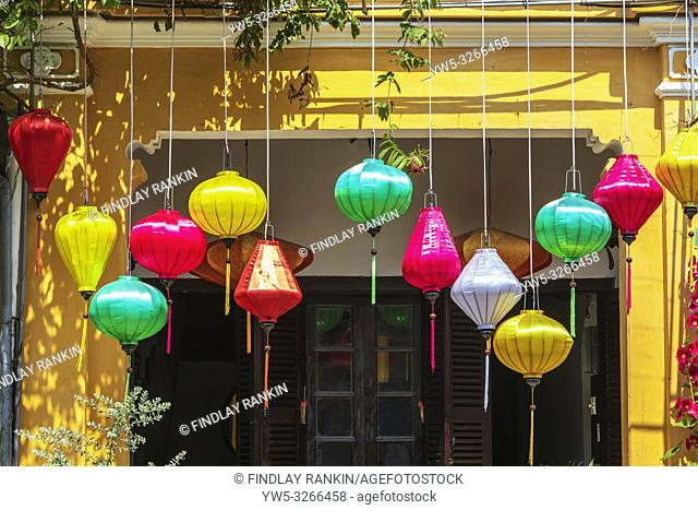 Silk lanterns decorating the entrance to a Vietnamese hous, Hoi An, Quang Nam Provence, Vietnam, Asia