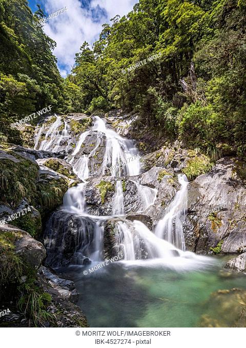 Waterfall Fantail Falls, Makarora River, Wanaka, Westcoast, South Island, New Zealand, Oceania