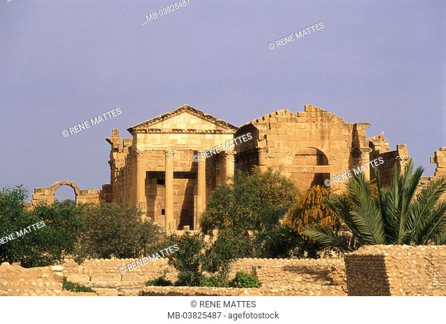 Tunisia, Sbeitla, forum, ruins,    North Africa, sight, destination, Roman Sufetula, antique, archaeological place, archaeology, remains, architecture, culture