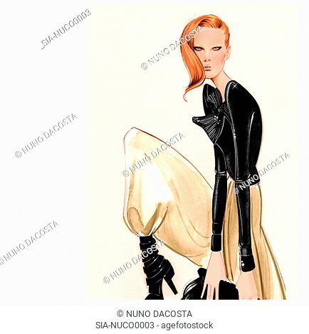Stylish woman in jacket