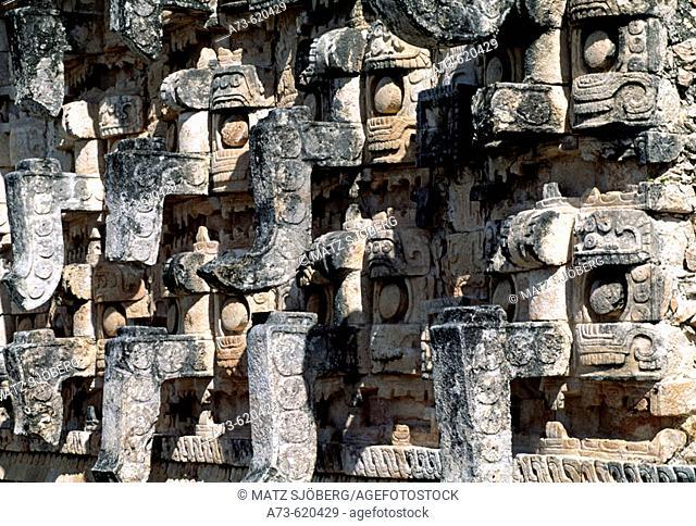 Puuc Road. Masks Palace (Codz Poop), particular of the facade. Kabah. Yucatan. Mexico