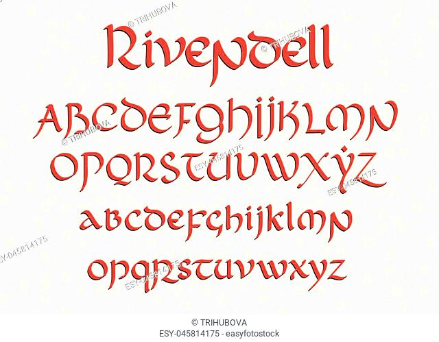 Blackletter gothic uncial hand-drawn font. Decorative vintage magic styled letters. Rivendell vector script