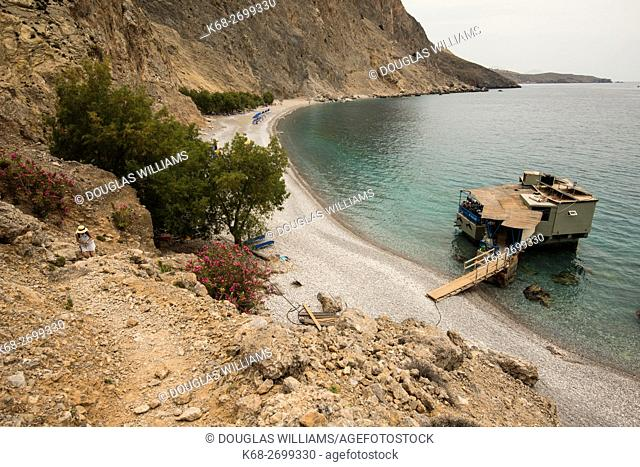 restaurant at the beach, Sweetwater Beach on the trail from Chora Sfakion to Loutro on the south coast of Crete, Greece