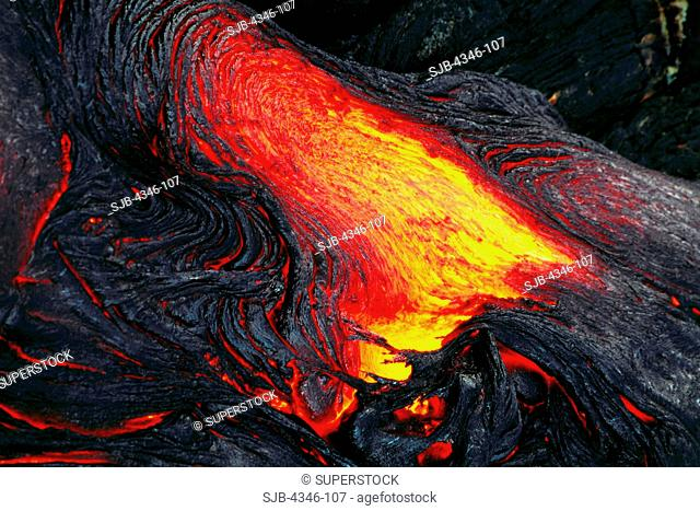 Glowing Hot Pahoehoe Lava