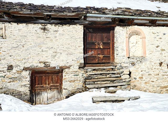 A mountain hut in the village of Crampiolo. Baceno Municipality. Province of Verbano-Cusio-Ossola. Piemonte. Italy