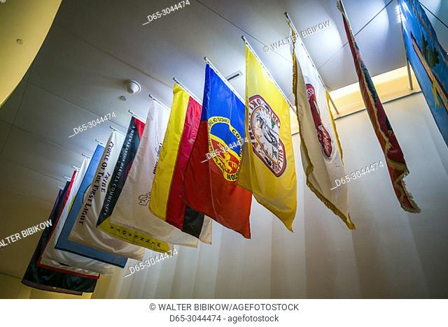 USA, District of Columbia, Washington, National Museum of the American Indian, flags of Indian nations