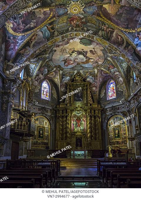 Inside the Church of San Nicolas (Parroquia de San Nicolas), Ciutat Vella, Valencia, Spain. The interior of the Church of San Nicolas has been restored and...