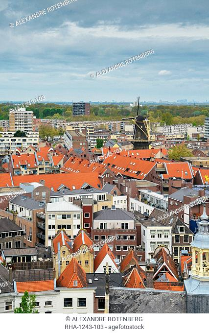 Schiedam has the largest windmills in the world, with heights up to 33 meters, Schiedam, Netherlands, Europe