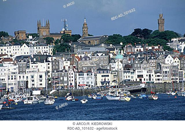 St. Peter Port and harbour Guernsey Channel Islands Great Britain