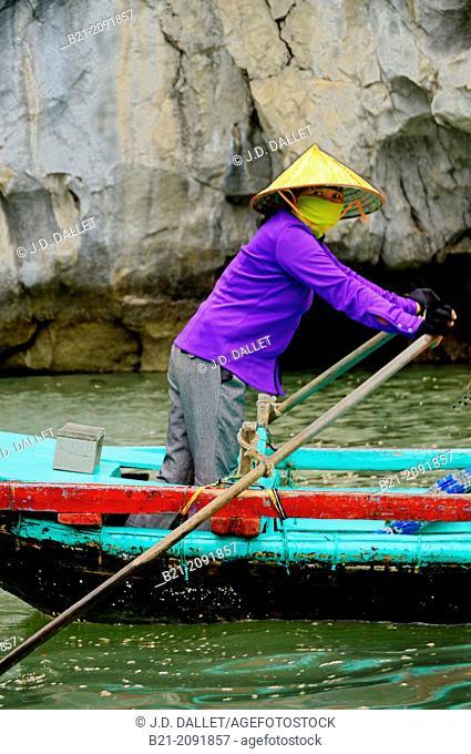 Vietnam. Boat lady at the Ha Long Bay