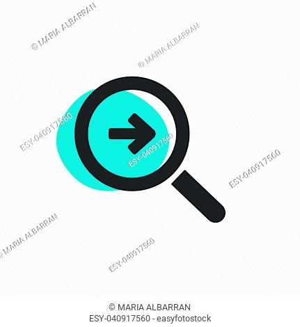 Magnifying glass looking for a way isolated web icon. Vector illustration