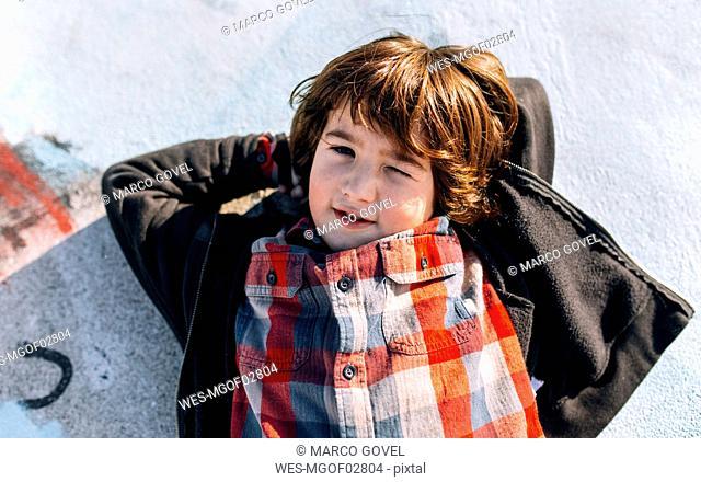 Portrait of relaxed little boy
