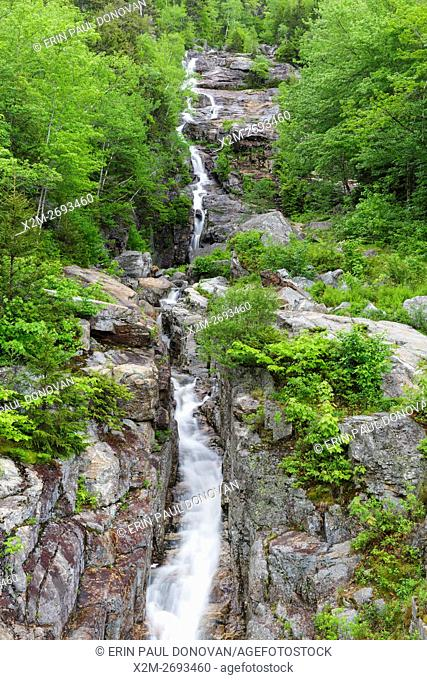Silver Cascade in Crawford Notch State Park, New Hampshire USA during the spring months
