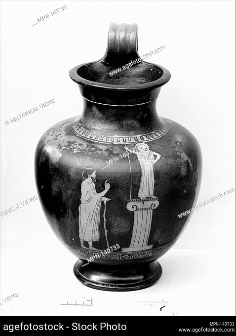 Terracotta oinochoe: olpe (jug). Attributed to the Group of Berlin 2415; Period: Classical; Date: ca. 470-460 B.C; Culture: Greek